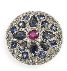 Grosser Saphir-Rubin-Diamant-Ring 14K RG und Silber, anfangs 20. Jh. Zentrum besetzt mit 1 runden, — Schmuck