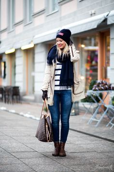 Casual outfit with parka jacket