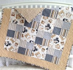 Patchwork Baby Quilt featuring Wee Woodland by KimsQuiltingStudio, $149.99