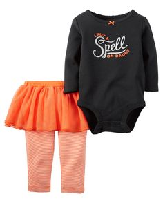 "Carter/'s /""Daddy is Under My Spell/"" Black Halloween Play//Pajama Set w//Tutu $26"