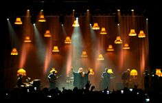 Lamps on stage w Mac 101's for backline lighting.  LOVE IT.