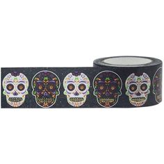 Little B: Sugar Skulls Paper Washi Tape, 25mm Wide x 10m, with Cutter