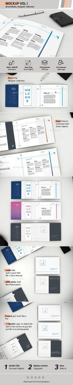 Brand Books Mockups | #brandbooksmockups #mockups | Download: http://graphicriver.net/item/mockup-vol-1-brand-books/8944267?ref=ksioks
