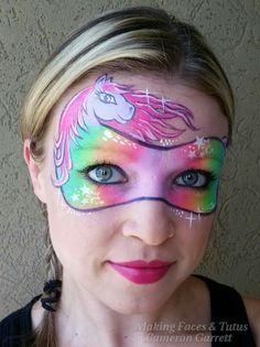 Uuj -- face painting horse rainbow mask -- add a horn for a unicorn