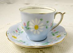 Vintage Tea Cup and Saucer by Bell China, Blue with Daisies, English Bone China