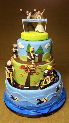 Triathlon wedding cake.
