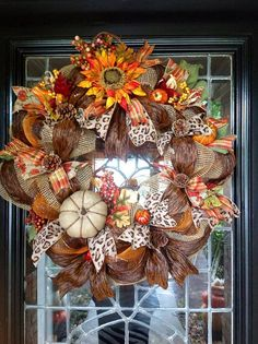 Fall Deco Mesh Wreath/Thanksgiving Wreath by Disideas on Etsy