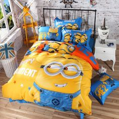 Cartoon Bedding Set Minions Mickey Mouse Hello Kitty Printed for Kids Cotton Bed Linen Duvet Cover Bed Sheet Pillowcases Minions, My Minion, 3d Bedding Sets, Cotton Bedding Sets, Linen Bedding, Bed Linens, Unique Bedding, Cama Da Hello Kitty, Kids Comforters
