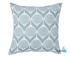KUUSHTI ------------  Product: B L O M M A | L I G H T B L U E  X LARGE Contemporary Scandinavian pillow cover in a stunning light blue and white floral geometric pattern. Perfect for a bright modern setting.  Details:  A cover made to fit a 24 / 60cm inner - or request a custom listing to have your own size made Handmade to order & zipped 100% High Quality Cotton Cover only  Also available (to match): Smaller Cushions: https://www.etsy.com/uk/listing/5040558...