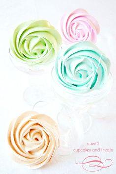 Pretty pastel meringue roses (One Sweet Girl).
