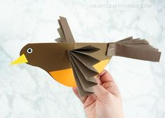 This colorful accordion fold paper bird craft is a perfect compliment to enjoying some bird watching in your neighborhood this spring and learning about birds. After making their own colorful bird craft, kids will enjoy flying them around all afternoon. Bird Paper Craft, Paper Folding Crafts, Paper Craft Making, Paper Birds, Bird Crafts, Paper Crafts For Kids, Crafts For Kids To Make, Animal Crafts, Arts And Crafts
