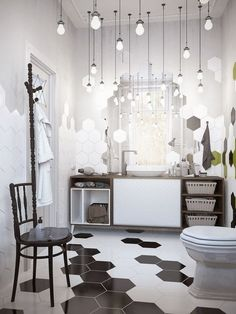 it's raining lights (via Bloglovin.com ). Random black and white tiles.