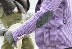 lavender herringbone blazer with elbow patches :: so epic