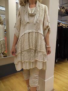 NEW SEASON DIVERSE 3 PIECE ITALIAN STUNNING LAGENLOOK LACEY TUNIC/DRESS CREAM | eBay
