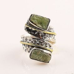 Orange Kyanite Solid Sterling Silver size 7 artisan crafted ring. DETAILS: * Orange Kyanite Ring * Size 7 * 8.1 g total weight * Set in SOLID .925 Sterling Silver & Bronze * Stamped .925 * Band Measur