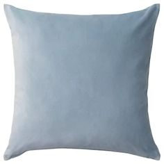IKEA - SANELA, Cushion cover, light blue, Cotton velvet gives depth to the color and is soft to the touch. The hidden zipper makes the cover easy to remove. Light Blue Throw Pillows, Blue Cushions, Velvet Cushions, Cushions On Sofa, Decorative Throw Pillows, Sofa Pillow Covers, Cushion Covers, Cushion Pads, Sofa Bed With Chaise