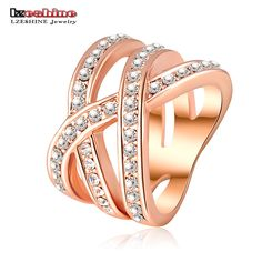 LZESHINE Double Cross Ring Trendy Ring Silver Plated Genuine SWA Elements Austrian Crystals Women Rings Fashion Ri-HQ0120-b | Price: US $2.45 | http://www.bestali.com/goto/1988107060/10