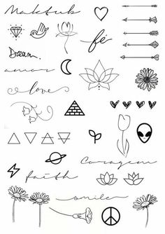 Cute little doodle drawing ideas for bullet journal cute tattoos, body art tattoos, easy Little Tattoos, Mini Tattoos, Cute Tattoos, Body Art Tattoos, Tatoos, Awesome Tattoos, Doodle Tattoo, Doodle Drawings, Tattoo Drawings