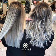 60 Shades of Grey: Silver and White Highlights for Eternal Youth White Balayage for Dishwater Blonde Hair – Station Of Colored Hairs Silver Ombre Hair, Ombre Hair Color, Hair Color Balayage, White Ombre Hair, Bayalage, Brown To Grey Ombre, Haircolor, Pastel Ombre, Silver White Hair