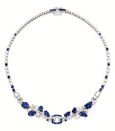 SAPPHIRE AND DIAMOND NECKLACE, CARTIER NEW YORK, CIRCA 1930