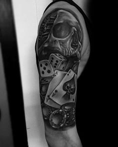 40 poker chip tattoo designs for men - masculine ink ideas Gambling Games, Gambling Quotes, Gambling Tattoos, Half Sleeve Tattoos Designs, Tattoo Designs Men, Playstation 2, Casino Night, Casino Party, Ashley Tisdale