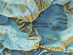 Mount Everest od. Chomolongma, design: Eduard Imhof, 1:100,000 map ...