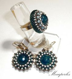Beaded ring and earrings
