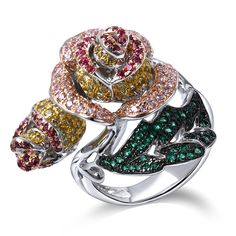 ==> [Free Shipping] Buy Best Gorgeous Rose Rings For Women White Gold Color Bridal Wedding Ring Multicolour CZ Big Rings for Women Fashion Cocktail Ring Online with LOWEST Price | 32494385020