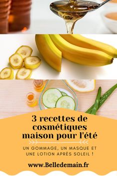 Je vous partage 3 recettes minutes faciles et rapides pour vous concocter les cosmétiques naturels indispensables de cet été :) 1 gommage au sucre pour préparer le bronzage et faire la chasse aux poils incarnés, 1 masque à la banane pour protéger nos cheveux de la mer et du chlore, et 1 lotion après soleil au concombre ! Cliquez sur l'image pour y accéder ;) #cosmétiquesmaison #cosmétiquesnaturels #diy #recettescosmétiques #cosmétiques #soinnaturel #été #gommage #masque #beautébio…
