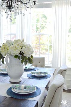 Hydrangea centerpiece on blue summer table