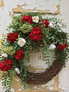 Summer Wreath for Front Door Red Geranum Wreath Spring
