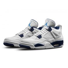 1ce5f2764cc Authentic 314254-107 Air Jordan 4 Retro LS White Legend Blue-Midnight Navy
