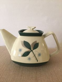 Tea Pot | Mid Century | Porcelier Vitreous China | Leaf Design | 6 Cup Capacity | Modern Shape | Grey, Green and Aqua | Gift for Tea Lover |
