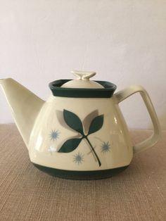 Tea Pot   Mid Century   Porcelier Vitreous China   Leaf Design   6 Cup Capacity   Modern Shape   Grey, Green and Aqua   Gift for Tea Lover  