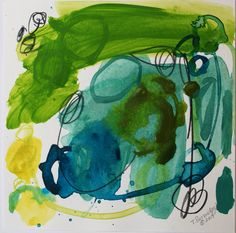 Limeaide 2 is a striking mini abstract painting on Bristol paper. Painted with Aqua, green gold, lime green, and dark green acrylic paint and