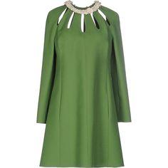 Valentino Short Dress (5 250 PLN) ❤ liked on Polyvore featuring dresses, green, mini dress, long sleeve wool dress, valentino dresses, flower dress and long sleeve mini dress