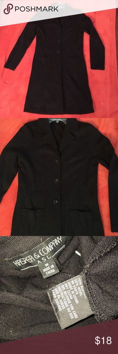 "Kasper&Company three button black mid length coat Kasper & Company three button black mid length coat - three button jacket - pea coat style but a much lighter material - I'm 5'7"" and it hits me above the knee. See size and materials in image. In good or great condition Kasper Jackets & Coats Pea Coats"
