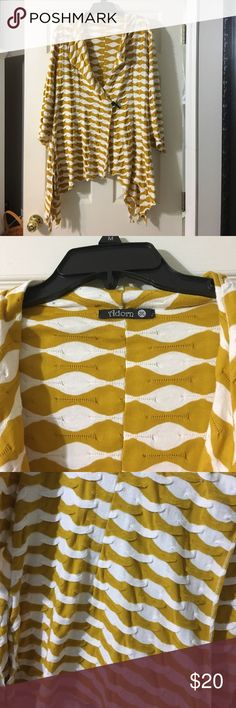 Women's wrap Beautiful mustard and white wrap around sweater with toggle closure. Needs to be resecured. Three quarter sleeves. Smoke free home. No rips, stains or tears. Tops
