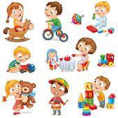 Los niños juegan con juguetes — Vector de stock #17010899