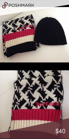 Juicy Couture Patterned Scarf and Beanie Super cute! Hardly worn! Comes in original box. Scarf is 8in wide and 72in long. Juicy Couture Accessories Scarves & Wraps