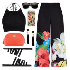 """Tropical Summer"" by lgb321 ❤ liked on Polyvore featuring Ted Baker, River Island, Ancient Greek Sandals, Lizzie Fortunato Jewels, Tory Burch and Rifle Paper Co"