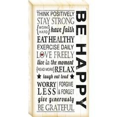 Be Happy:  12-in W x 24-in H Inspirational Canvas