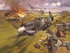 Spitfire's Straffing A German Airfield.