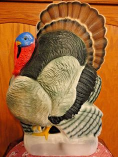 "VTG 25"" UNION TURKEY THANKSGIVING DON FEATHERSTONE BLOW MOLD LIGHT UP YARD DECOR"