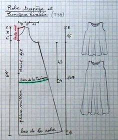 Robe trapèze et tunique évasée - toutes tailles - La Bobine لباس تفصيل مجاني Top or dress free pattern Sewing Hacks, Sewing Tutorials, Sewing Crafts, Sewing Projects, Sewing Tips, Dress Tutorials, Sewing Patterns Free, Free Sewing, Clothing Patterns