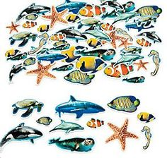 Fabulous Foam Adhesive Ocean Animal Shapes (80+) :   Fun and easy to do, just peel off the backing to make 'em stick! Assorted styles. 2.54 cm -  7.6cm  (80+ pcs)