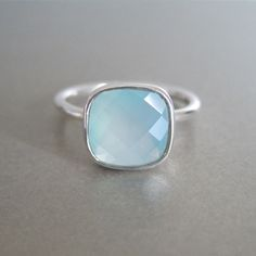 Sterling Silver Aqua Chalcedony Ring - www.tangerinejewelryshop.com