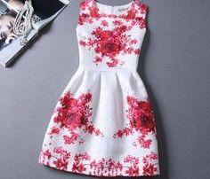 New Red Printing Pattern Sleeveless Vest Dress For Women