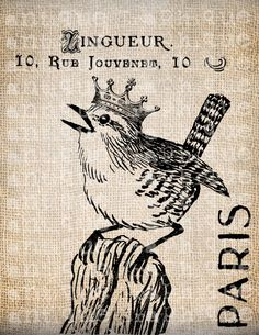 Antique Crown Bird French France Digital by AntiqueGraphique