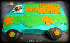 Mystery Machine Birthday Cake! www.samantha-sweets.com I just love making this cake! #Scooby Do #mystery machine #groovy